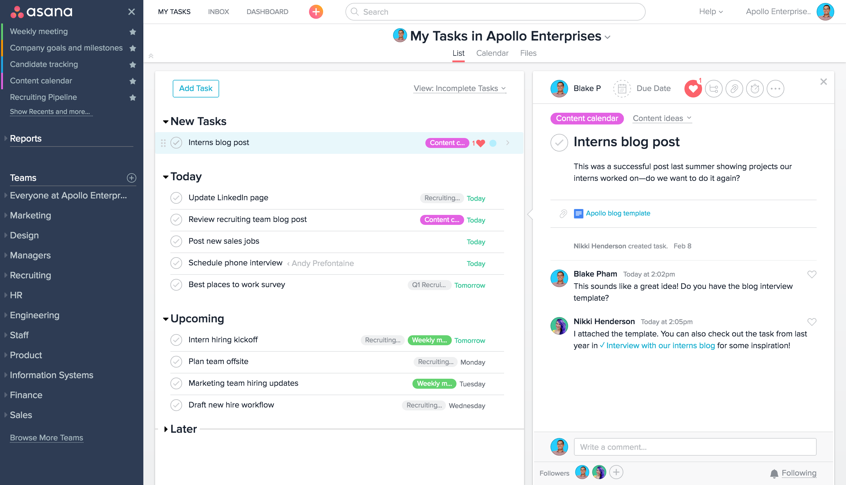 Task management in Asana