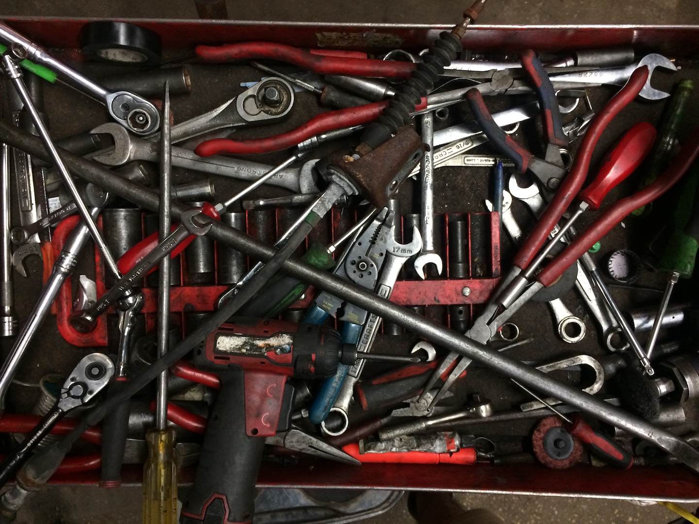 drawer full of hand tools
