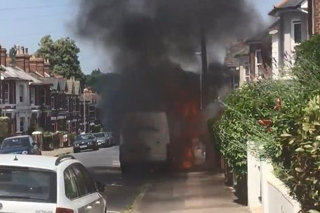 Van fire southborough 1