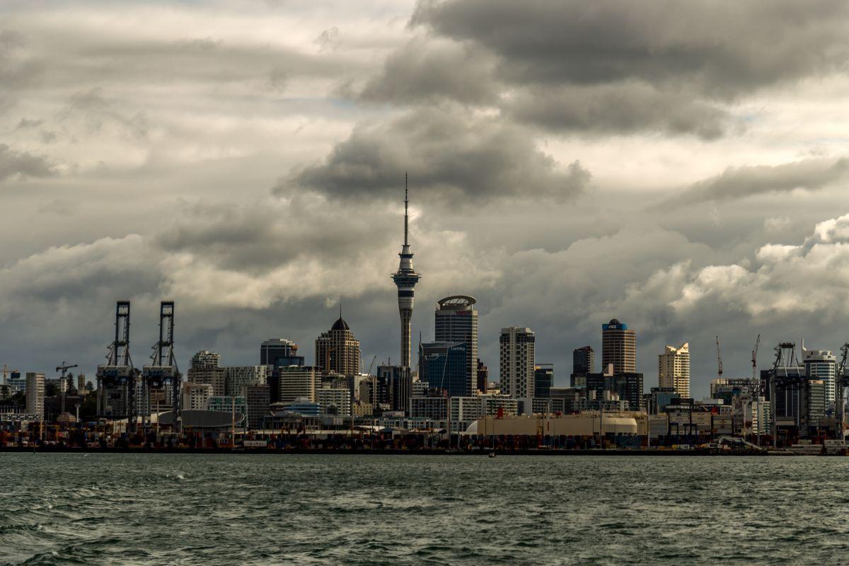 The auckland skyline on a cloudy day