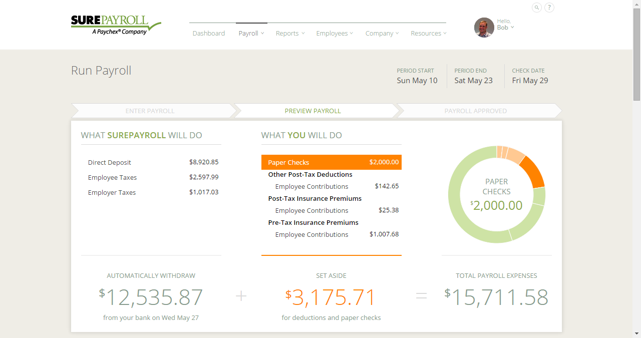 SurePayroll's direct deposit records view