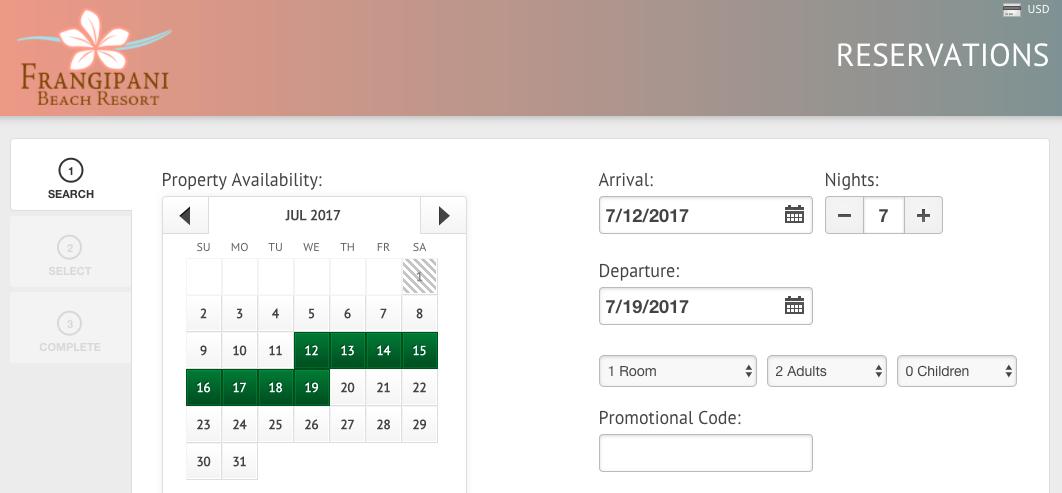 frangipani booking page