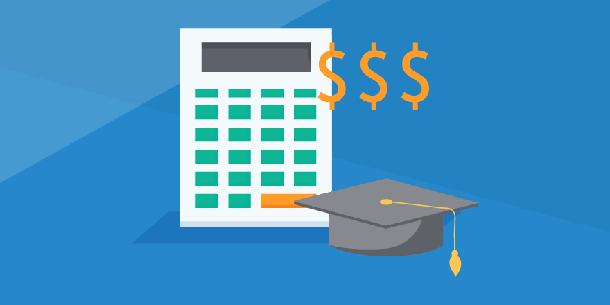 Header image of a calculator, dollar signs, and a graduation cap