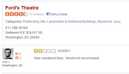 Abe L. does not recommend Ford's Theatre