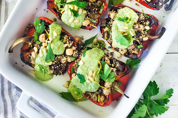 Stuffed Peppers with Quinoa, Eggplant, Chickpeas and Zhoug Yogurt Meal Prep Lunch
