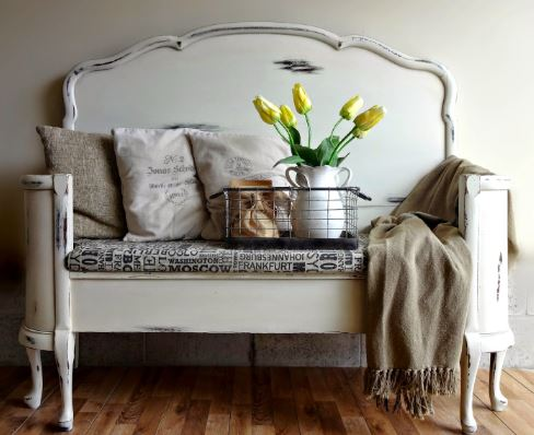 re-made headboard entry-way bench