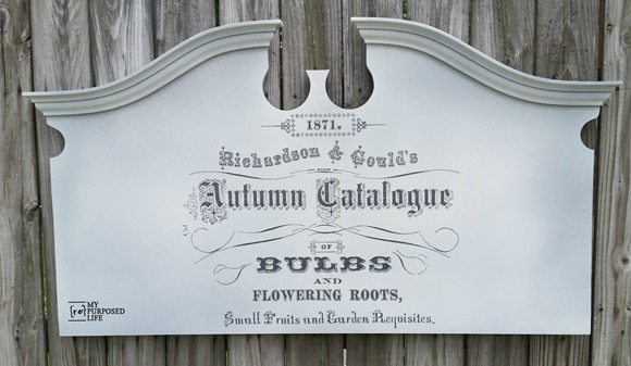 re-made headboard garden sign