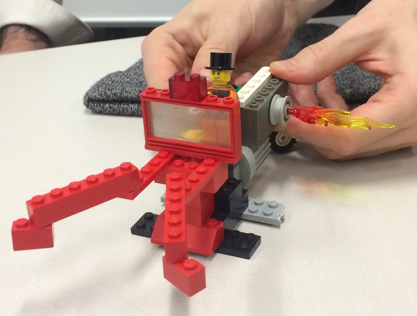 Rapid prototyping, shown here with Lego blocks, is one of the skills students learn in the INNO curriculum.