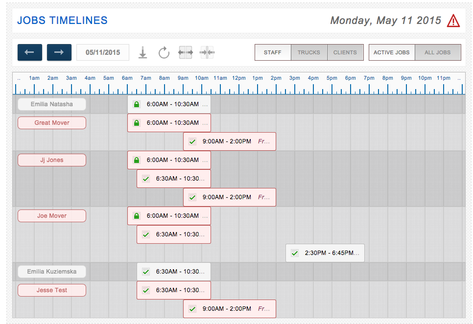 Example of a moving schedule from Moverbase