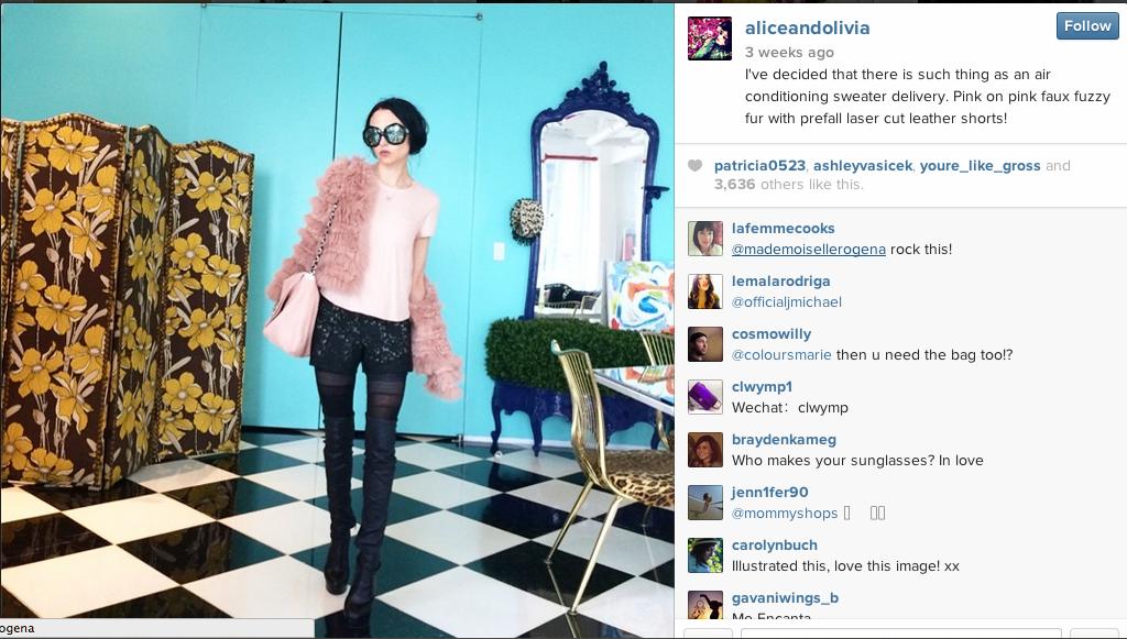 Alice+Olivia Content marketing