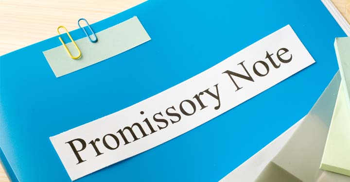 "Folder with the words ""Promissory Note"" printed on the cover"
