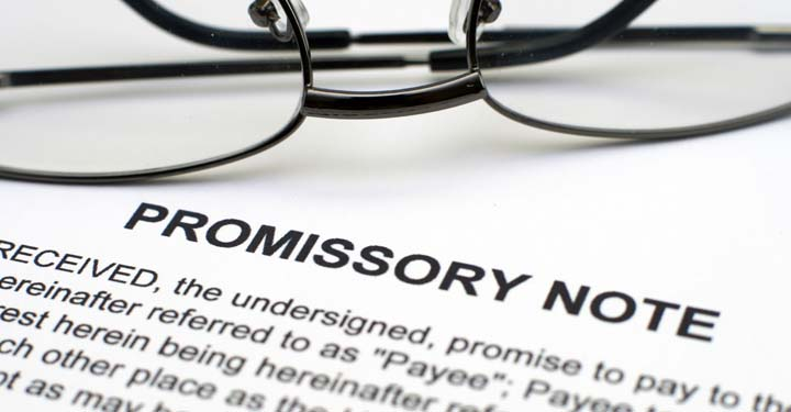 Wire glasses on promissory note document