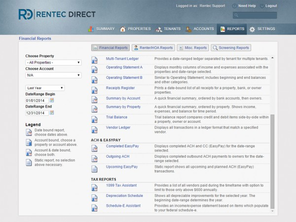 Various types of reporting options in Rentec Direct