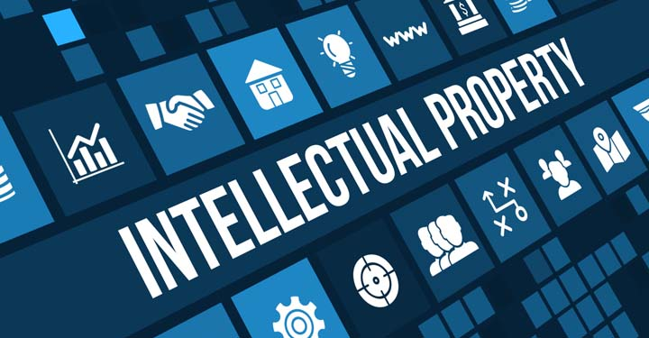 """Illustrations and graphics surrounding the words """"Intellectual Property"""""""