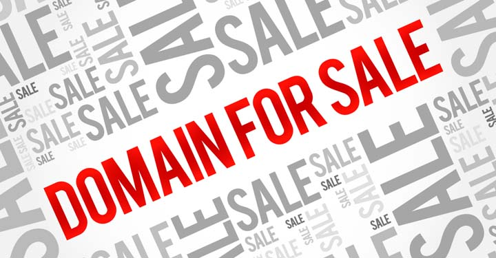 """Red words """"domain for sale"""" surrounded by differently sized versions of the grey word """"sale"""""""