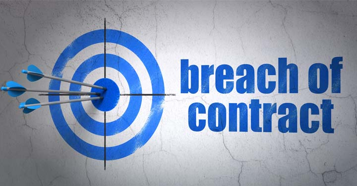"""Blue target symbol with three blue arrows in the bullseye with """"breach of contract"""" written next to it"""