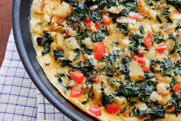 Frittata with Swiss Chard, Tomatoes, and Parmesan Recipe