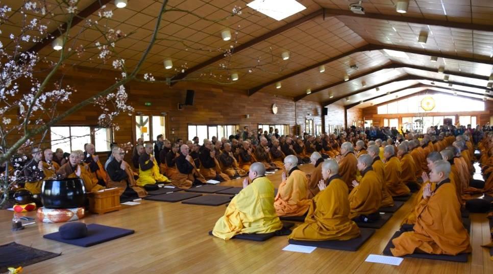 monks meditating at Plum Village meditation retreat