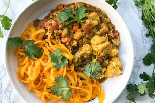 Lentil and Cauliflower Curry with Roasted Butternut Squash Noodle Meal Prep