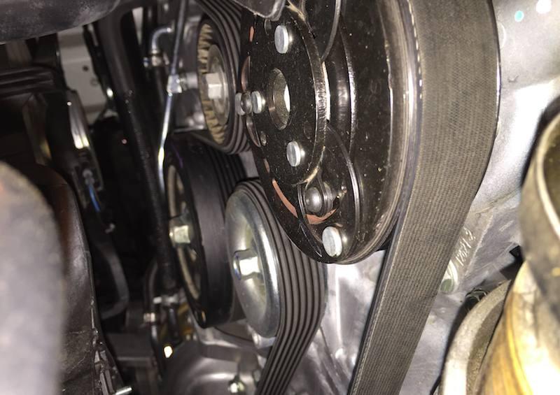 serpentine belt mounted on engine