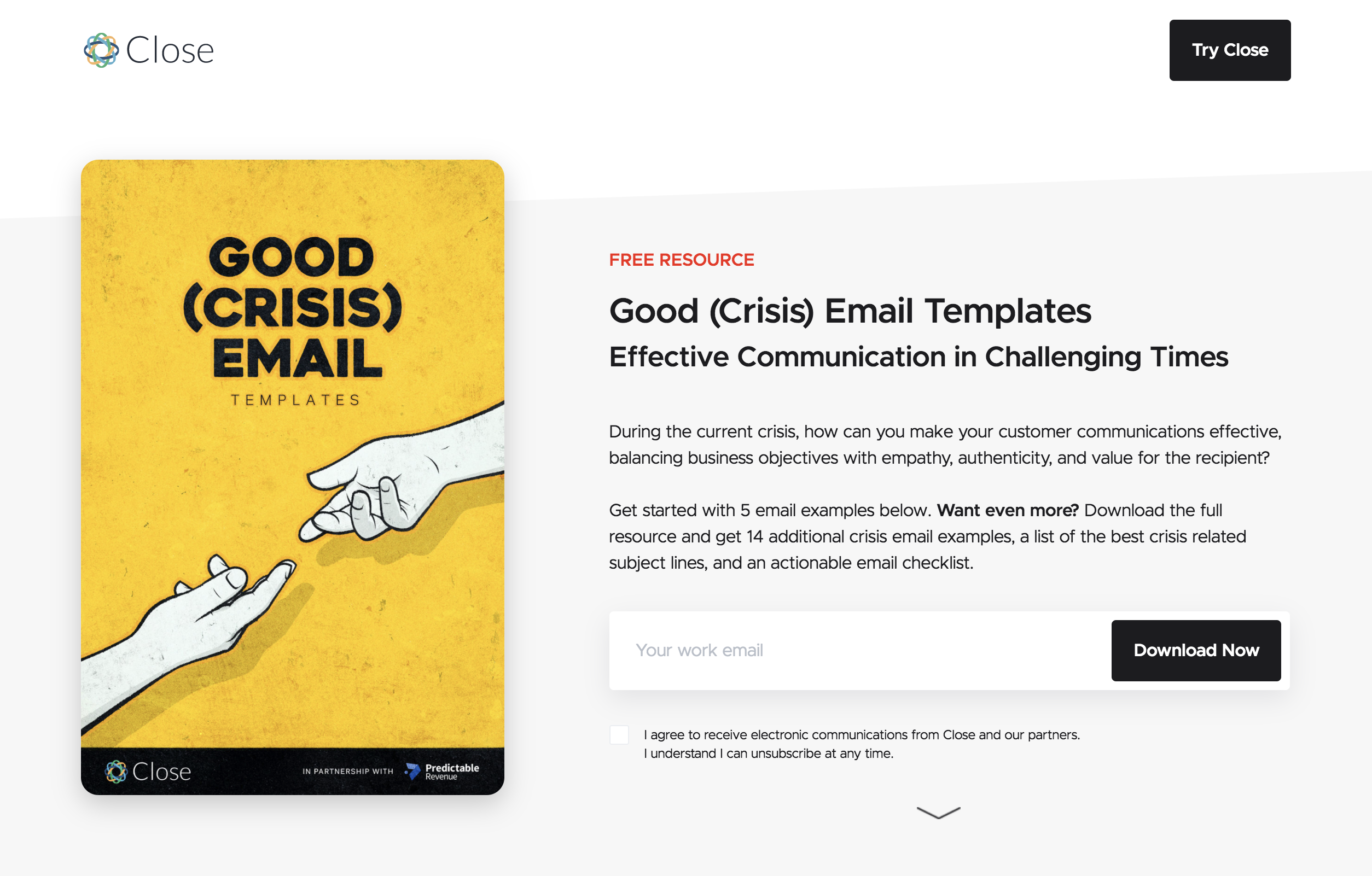 close email landing page