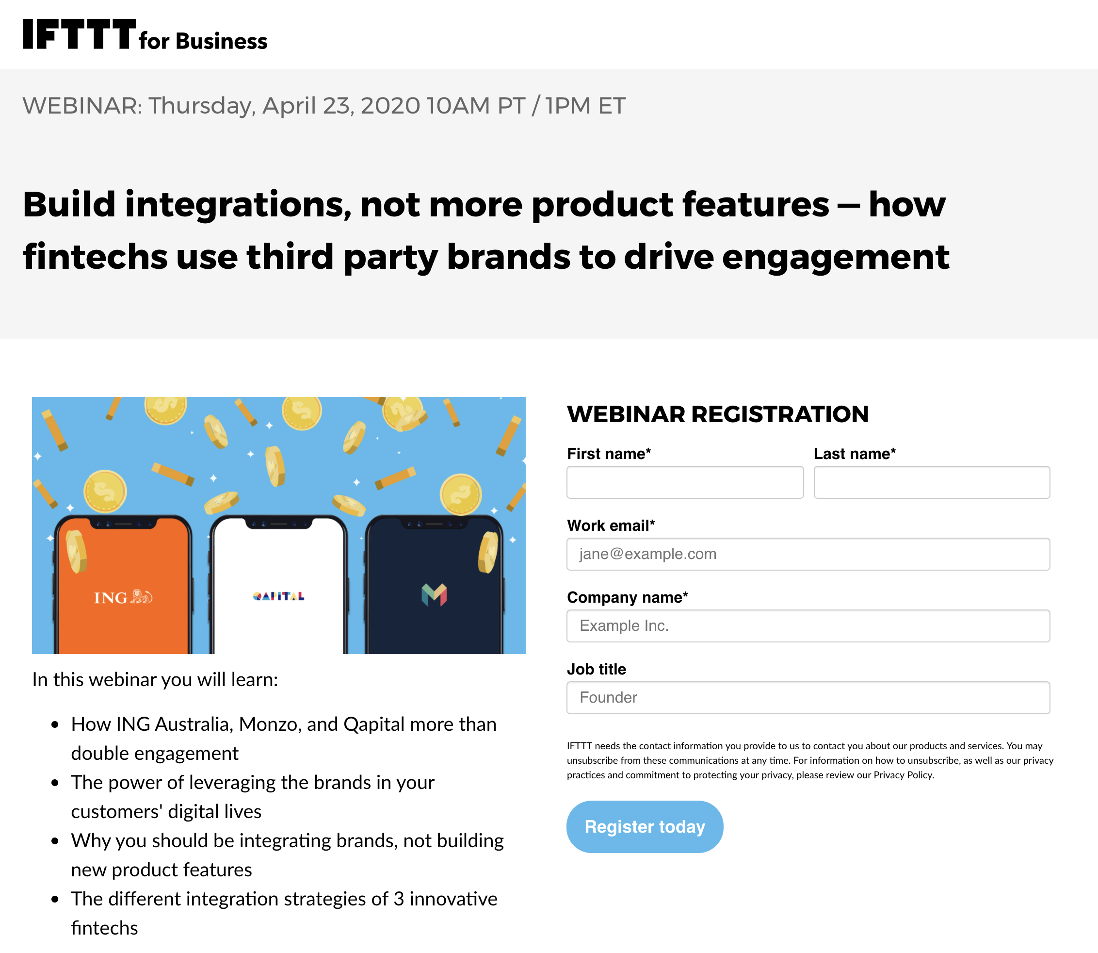 ifttt email capture landing page