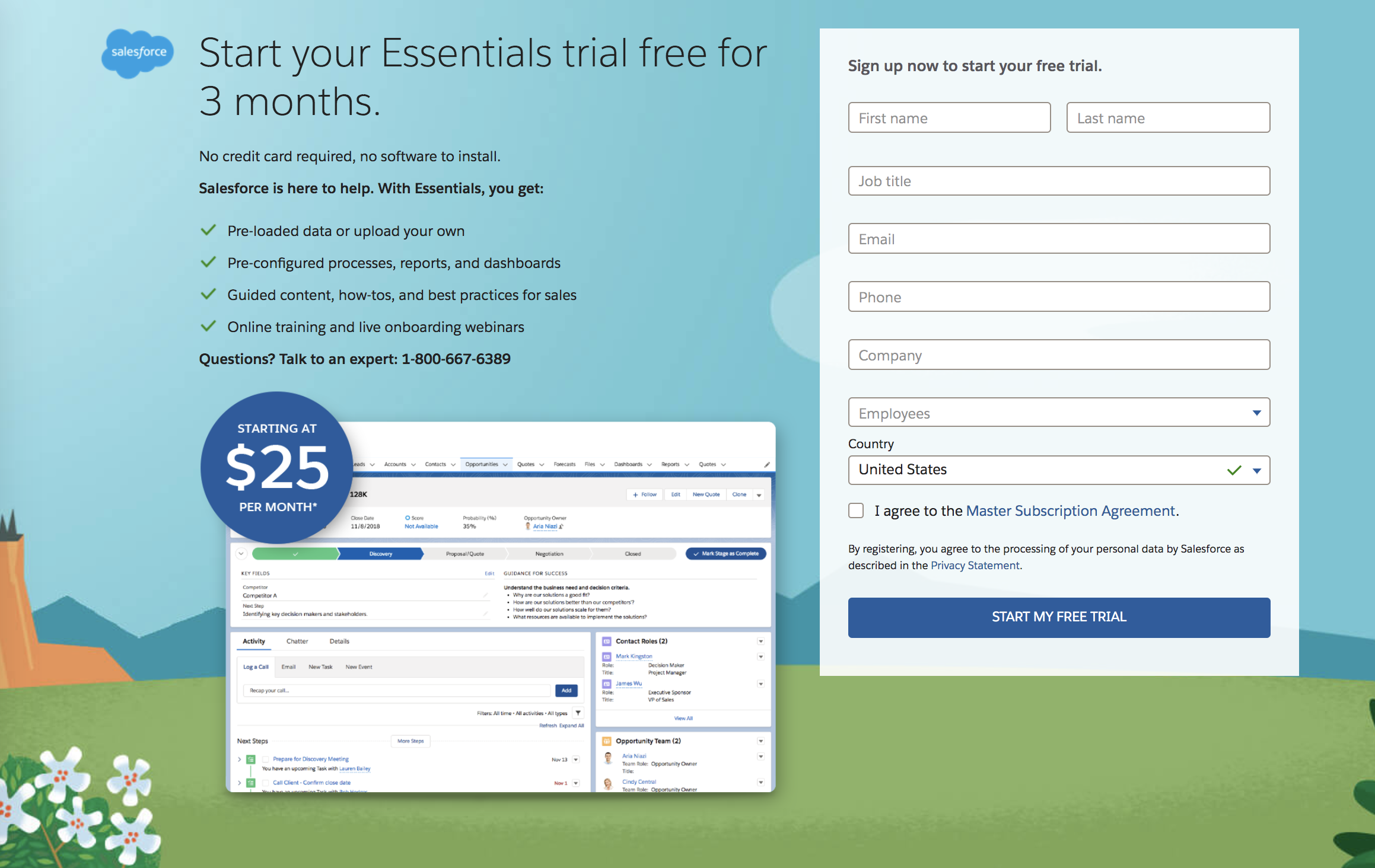 salesforce free trial email landing page