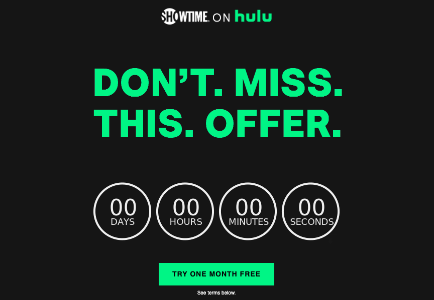showtime email landing page