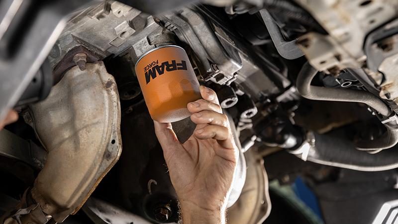 Fram Force filter being installed