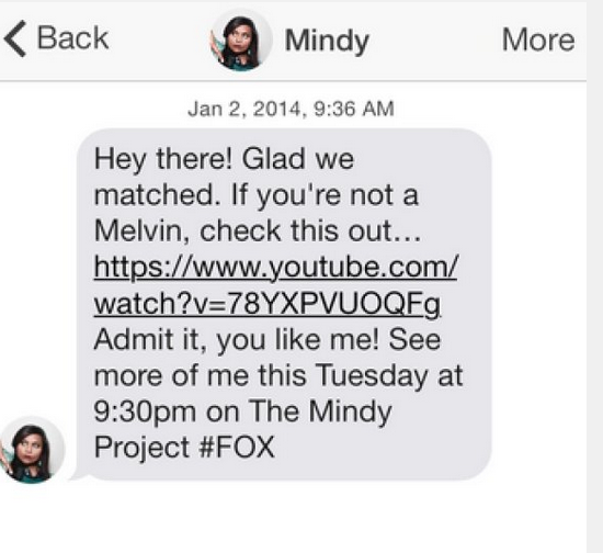The Mindy Project, Fox, Content Marketing, tinder