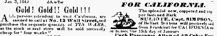 Bangor newspaper advertising gold rush in California.