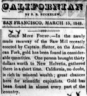 Newspaper clipping  reporting on the gold rush.