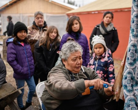 An elder at Helen's Fish Camp, on the traditional territory of the Ta'an Kwach'an Council in Whitehorse, YT teaches traditional preparation techniques using salmon from Second Harvest