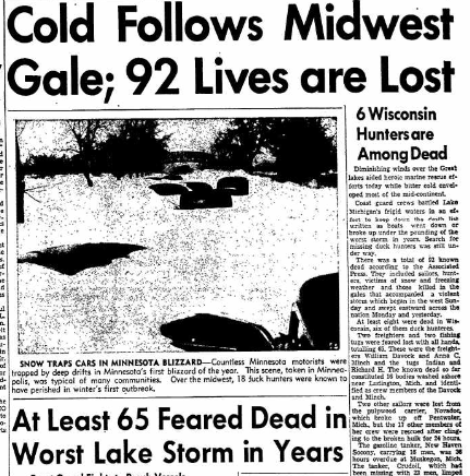 Newspaper clipping of winter storm in Wisconsin.