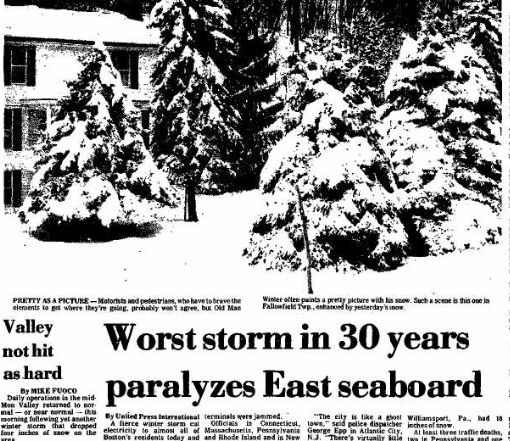 Newspaper clipping of winter storm in Pennsylvania.