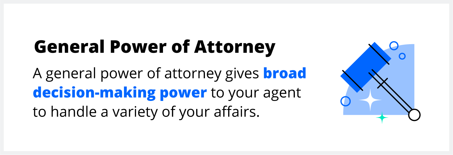 A general power of attorney gives broad power to your agent to handle many affairs.