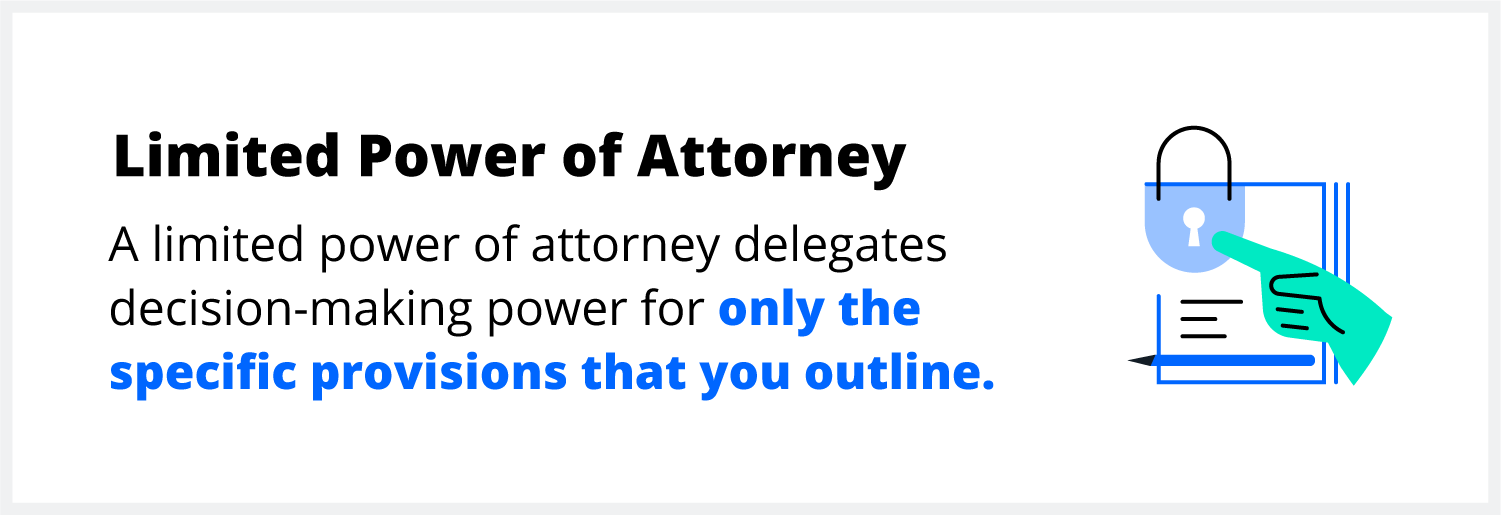 A limited power of attorney grants your agent only the specific powers listed in provisions of your POA document.