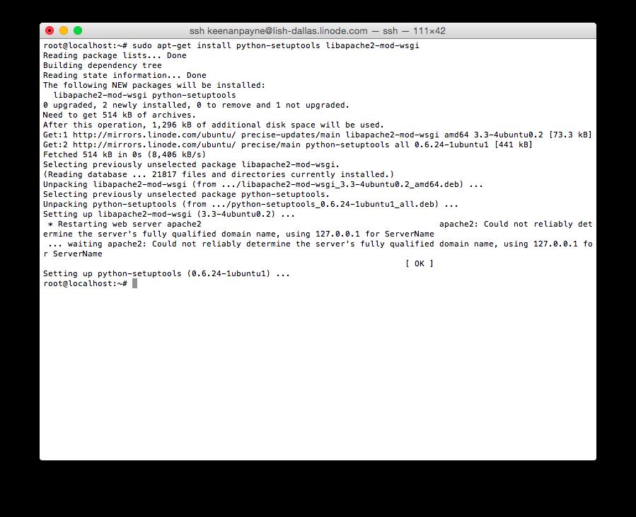 Installing Python/Apache dependencies
