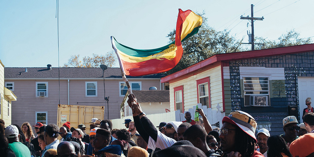 Flag at Second Line parade.