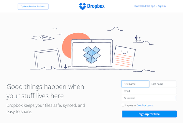 Dropbox signup page