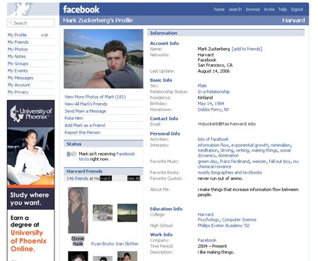 old Facebook design