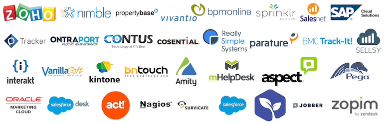 Collage of CRM vendor logos