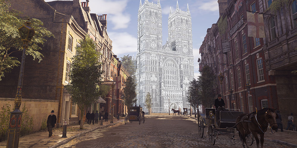 A wireframe of the digital version of Westminster Abbey in 'Syndicate' (Photo courtesy of Ubisoft)