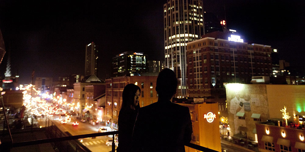 Rooftop view after hours in Nashville.