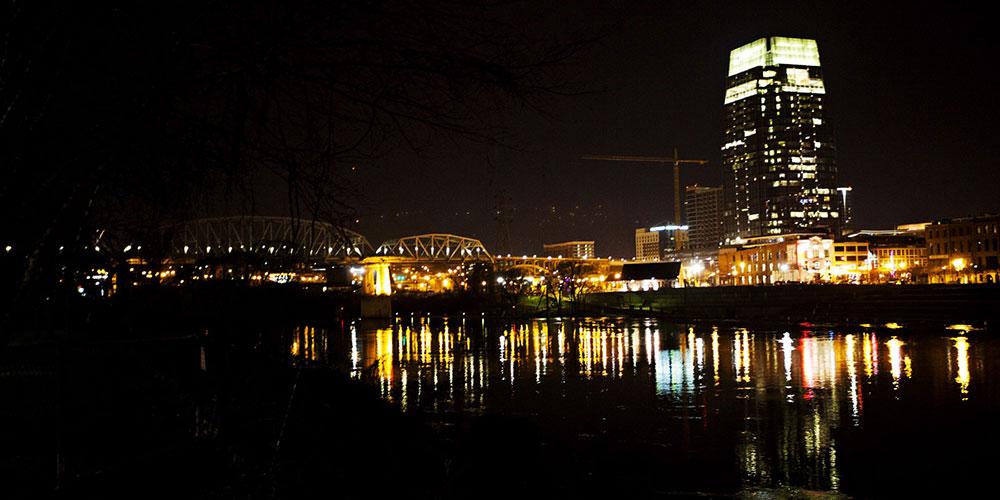 Nashville skyline late night.