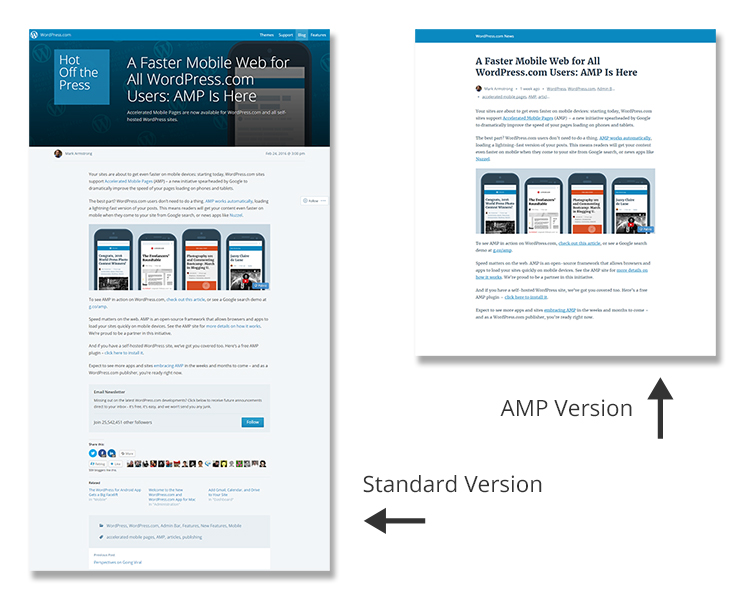 Standard vs. Google AMP Version