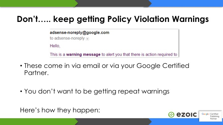 google adsense policy warnings