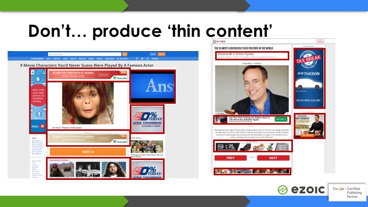 thin content examples adsense