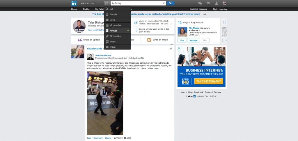 sharing content in Linkedin groups