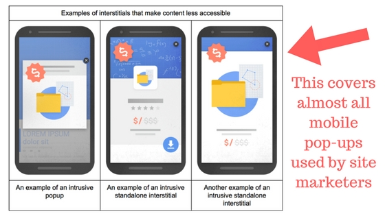 google mobile interstitial penalty on mobile pop ups